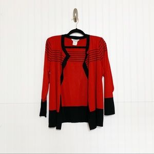 Mistook Red Black Striped Open Front Cardigan